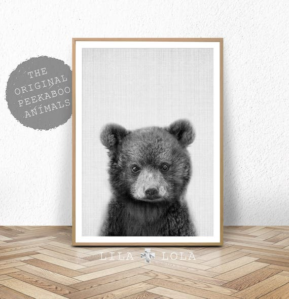 Baby Bear Print, Woodland Animal, Nursery Decor, Printable Digital Download, Forest Animals, Black and White, Large Poster, Bear Cub
