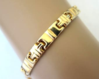 14K Yellow  Gold  Bracelet with Geometric Shape Links,Slide in Clasp,10.7 Grams