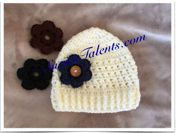 Pt110 Crochet Baby Hat Pattern With Changable Flower Baby
