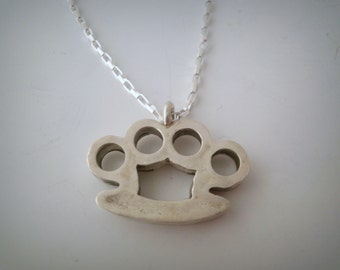 Brass Knuckles Sterling Silver Pendant
