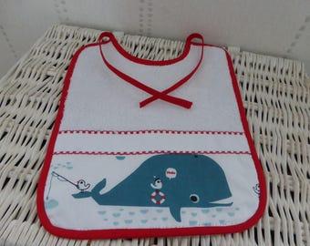 Personalize - baby bib Mylène whale