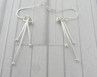 Silver dangle stick earrings, Fine silver earrings, Dangle bar earrings, Silver wire earrings, Long silver earrings, Made in the UK