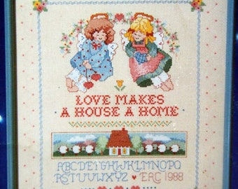 Country Angels Book Three By Barbara Mock And Dimensions Vintage Cross Stitch Pattern Leaflet 1988