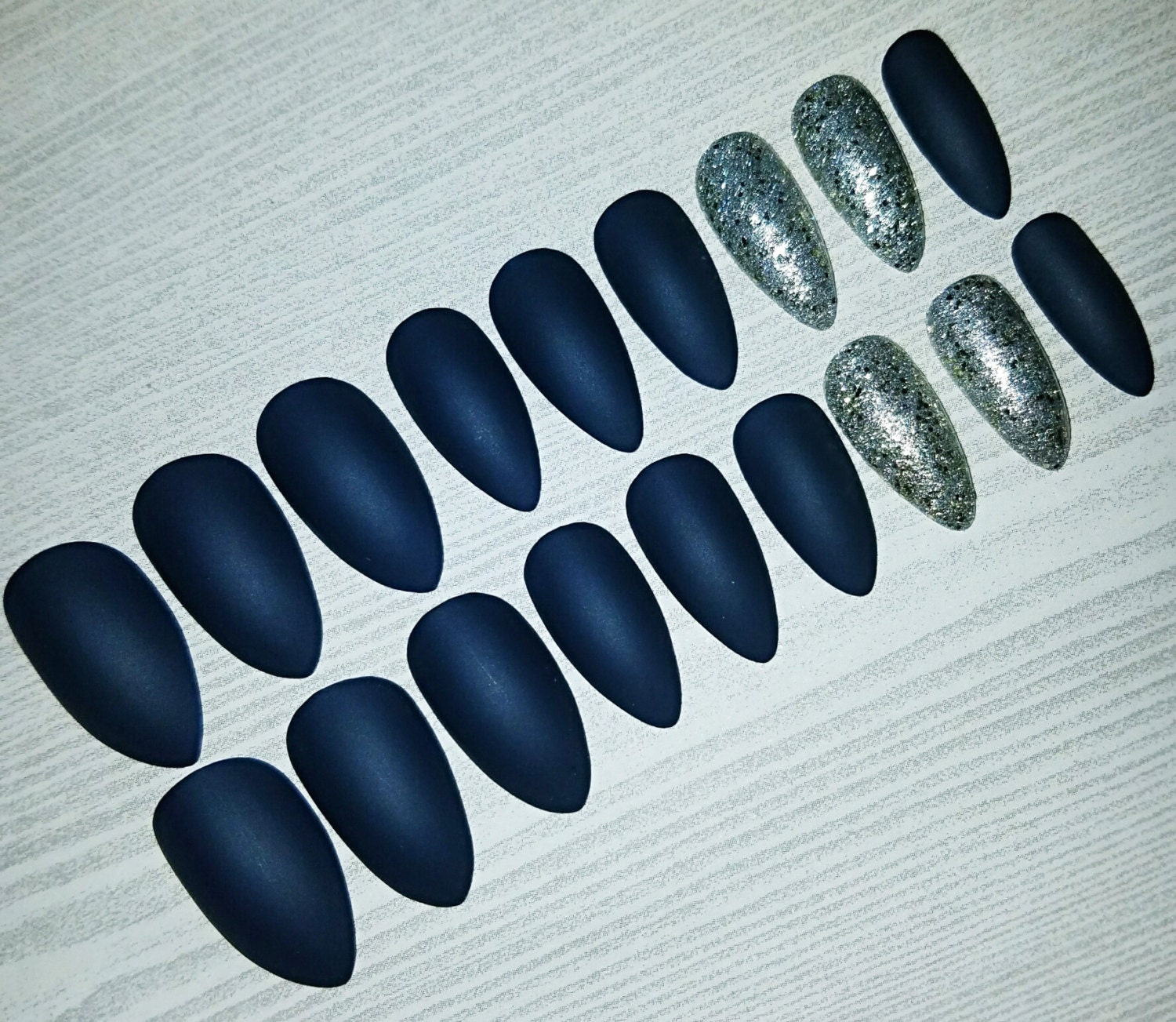 Navy and Silver Matte Stiletto Nails- Press on Nails- Glue on Nails ...