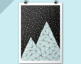 Mountain print / Blue Mountain / A4 print / Art print / Mountain Illustration / Contemporary art / graphic art / Festive art print