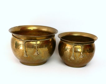 Pair of Hammered Brass Cachepots with Tassel Rope Trim