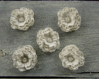 Set of 5 polymer clay flowers