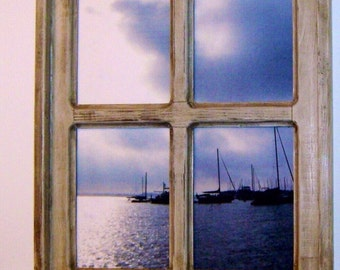 Framed Sailboat Photo Framed Photography, Distressed WIndow, Annapolis Photo, Sail Boat Photo, Wood Shelf, Framed Photo, Gift Idea
