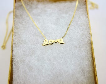 """14K Real Yellow Gold Small 'love' Pendant with Rolo Chain Adjustable 16"""" or 18"""""""