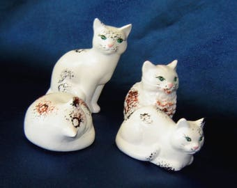 Set of 4 Miniature Cats - Group 17 - Ceramic Cats - Miniature Animals - Ceramic Miniatures - Cat Miniatures - Cat Figurines