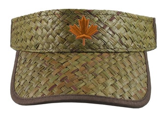 3D Puff Copper Maple Leaf Embroidery on an Adjustable Stylish Fashion Olive Green Straw Visor Canadian Canada Summer Hat