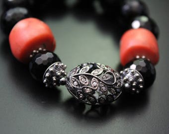 Diamond bead and old African coral bracelet boho art deco style jewelry genuine diamond and onyx bracelet vintage African coral bracelet
