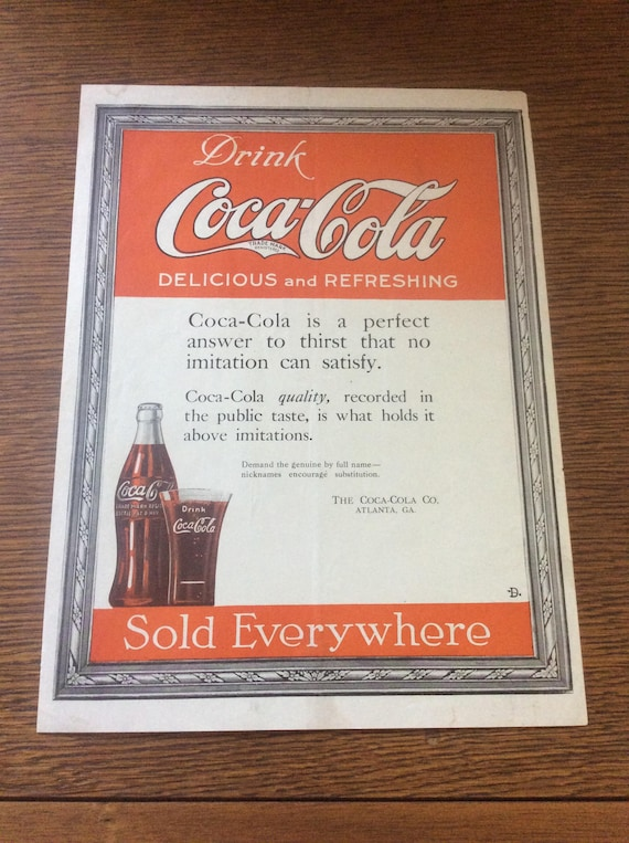 Vintage from 1919 Coca Cola ad, vintage advertisement, Drink Coca Cola ad other side has ACES service motor trucks ad, vintage advertisement