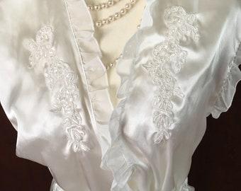 M/ Linea Donatella/White Peignoir/Robe and Nightgown/Short/Medium