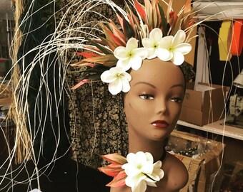 Ti leaf Niau and Jelly Foam Plumeria headpiece