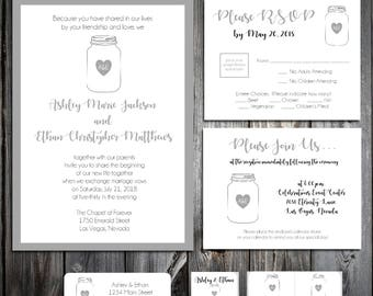 100 Mason Jar Wedding Invitations, RSVP's, Reception Insert w/ FREE Calendar Stickers