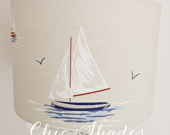 Cream Sailing Boats Fabric Lampshade