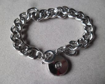 x 1 to 21 cm silver snap button toggle clasp chain bracelet