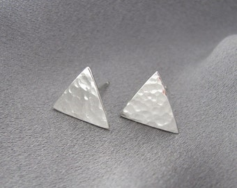 Sterling Silver Earring Studs, Post Studs, Hammered Earrings, Post Earrings ~ Triangle Earrings
