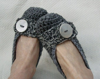 Crochet Slippers Womens Flats Salt and Pepper