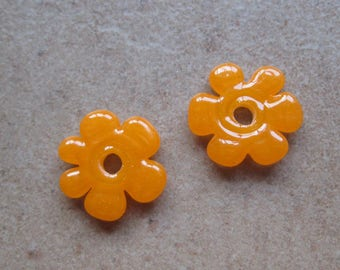 Lampwork Beads - SueBeads - Disc Beads - Disc Flowers - Tangerine Orange Cut Disc Flower Bead Pair - Handmade Lampwork Beads - SRA M67