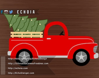 Red Christmas Tree Truck - SVG, PNG and DXF files -  For Printing and Cutting