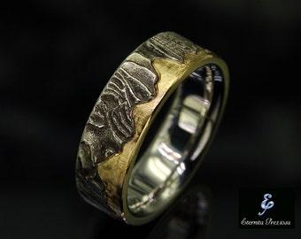 7mm Unique Mens Wedding Band , Rustic Wedding Ring, Menu0027s Wedding Band, Mens  Engagement Ring, Mens Wedding Ring, 18K Gold Wedding Band