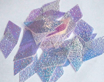 25 Metallic Polygon Diamond Shape GlitteringTextured Rainbow Effect White Color Sequins / PPS518