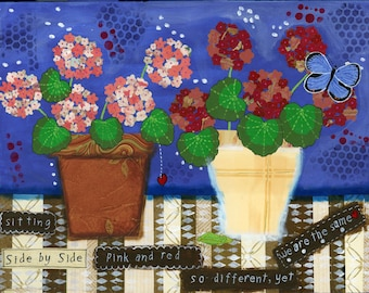 geranium, red geranium, pink geranium, butterfly, mixed media, inspirational words, katydid, potted geraniums, canvas art, acrylic painting