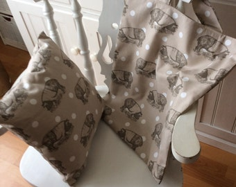 Large  Lined Cotton Tote  Bag  - Lovely Pigs on  a Taupe Background - Handmade