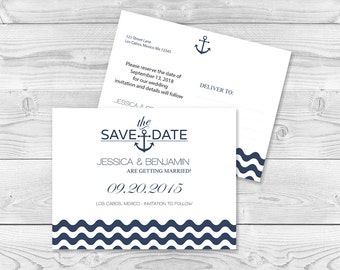 Nautical Wedding Save the Date Template Navy Anchor Wave