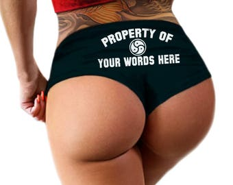 Custom Personalized Panties Property Of Panties Personalized With Your Name, BDSM Symbol Boyshort Booty Panty, Customized Womens Underwear