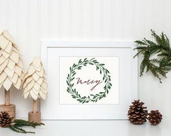 Christmas calligraphy print - merry wreath - Christmas decor - holiday decor
