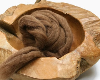 Brown wool roving for needle felting, Shetland needle felting wool, Natural wool roving