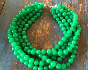 Emerald Green Marbled Beaded Statement Necklace   Vintage Lucite Sylvie Multi Strand Statement Necklace