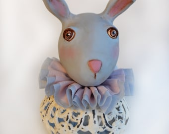 Vintage Bunny - Spring Bunny - Mixed Media Bunny - Pastel Colors Bunny - Made To Order