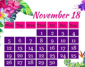 November 2018 Printable Calendar A4