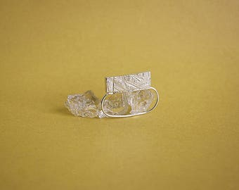 double RECTANGLE textured ring - solid sterling silver or bronze