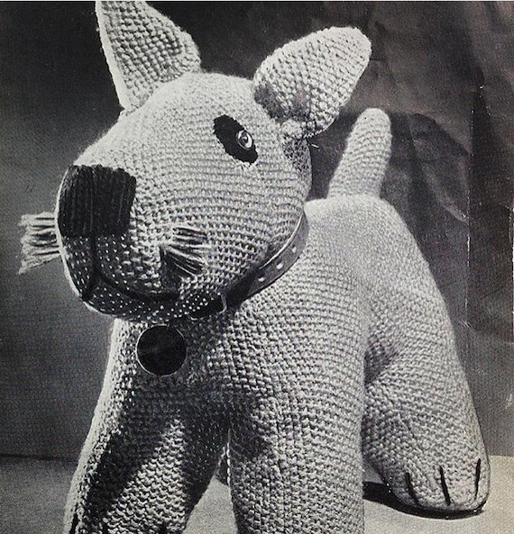 Vintage Knitting Pattern, Toy Dog Knitting Pattern, Soft Toy Pattern ...