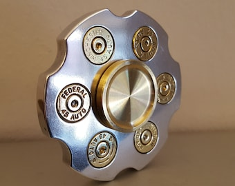 LIMITED QTY! The ORIGINAL 'Hand Cannon' Fidget Spinner!  Polished aluminum Hybrid Ceramic Bearing or R188 Insert with Brass Bearing Caps