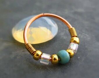 Beaded Nose Ring Hoop - 20G nose ring - Helix Ring Hoop