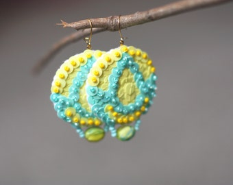 Drop Earrings Yellow Sequins light jade embroidered felt