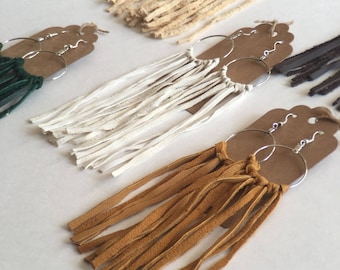 Handmade leather fringe earrings