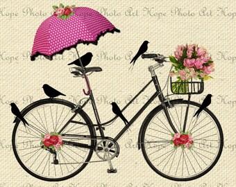 Spring Day Bicycle Ride Digital Collage Sheet Image Transfer Burlap Feed Sacks Canvas Pillows Towels greeting cards umbrella UPrint 300jpg