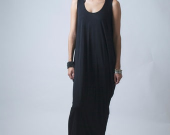 Long Caftan Dress / Maxi Dress / Casual Dress / Sleeveless Maxi Dress / Jersey Summer Dress / Plus Size Dress / Marcellamoda - MD0009