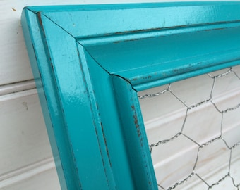 Seaside Blue Chicken Wire Frame 14x17/ Shabby Chic / Upcycled / Office Organization / Jewelry Storage / Memo Board