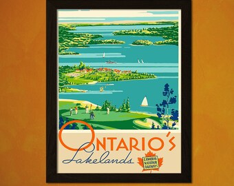 Canada Travel Print  - Vintage Travel Poster Travel Home Decorating Canadian Print Ontario Poster Travel Wall Art Gift Idea  Travel Decor