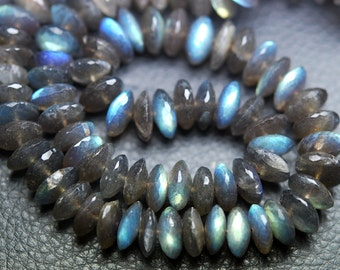 4 Inches Super Rare New Arrival,NATURAL Labradorite Micro Faceted German Cutting Rondelles 8.5-10mm Large