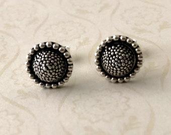 10mm Sun Flower Sunflower Sterling Silver ball dot pebble earring post, earring studs AE71