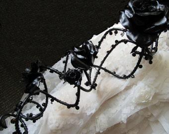 Black Wedding Bouquet: Rose and Crystal Trailing Arrangement